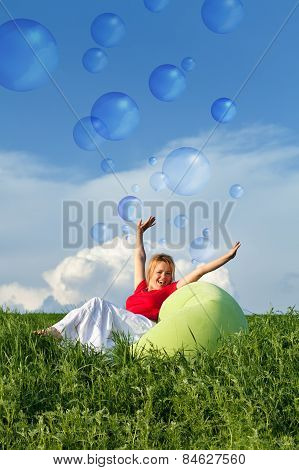 Bubbling Vitality - Woman On Spring Grassland