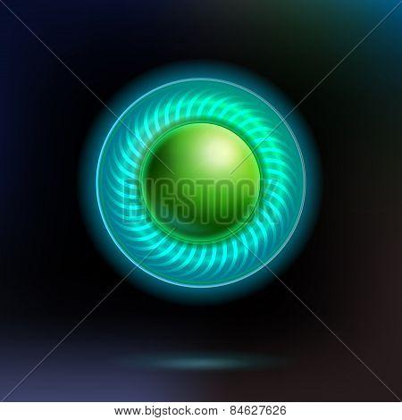 Lighting virtual technology button at dark background