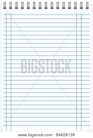 blank realistic spiral notepad notebook isolated on white