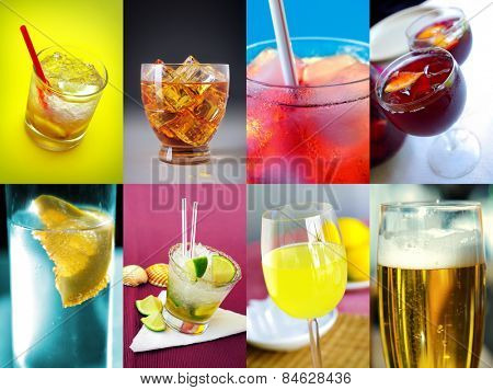 Collection of eight images of assorted alcoholic drinks