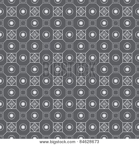 Silver Retro Flower Circle And Square Seamless Pattern