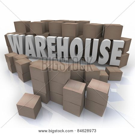 Warehouse word in 3d letters surrounded by cardboard boxes to illustrate inventory management