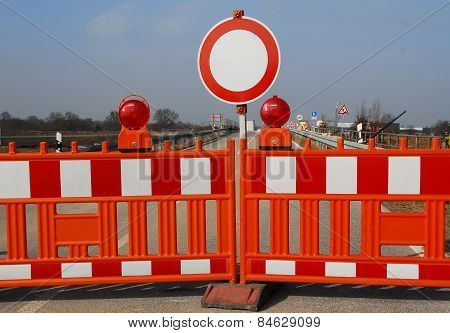 Barriers to the road closure