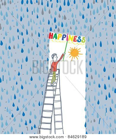 Concept of the happiness - protect yourself from bad emotion
