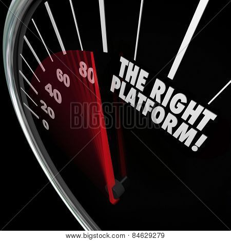 The Right Platform words on a speedometer to illustrate the best system or proces for managing your content and communicating your message or policies