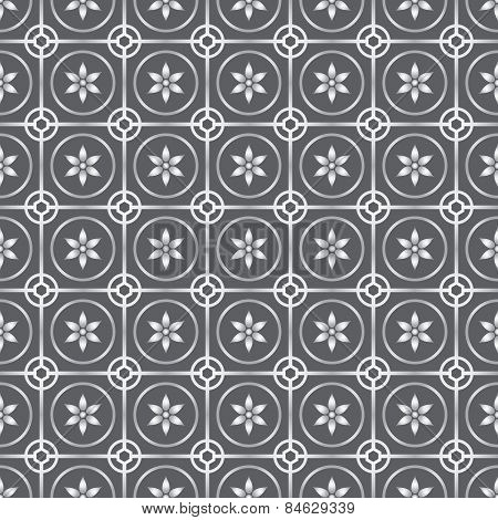 Silver Circle And Flower Seamless Pattern On Pastel Background