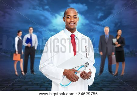 Black medical physician doctor man and group of people.