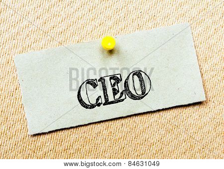 Recycled Paper Note Pinned On Cork Board. Ceo Message. Concept Image