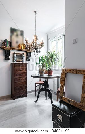 Vintage luxury dresser and table in apartment interior