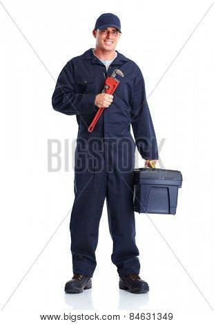 Plumber man with tools isolated over white background