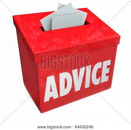 Advice word on a red suggestion box soliciting comments, feedback, ideas and input for improvement