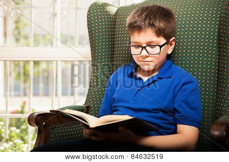 Little Boy Enjoying Reading