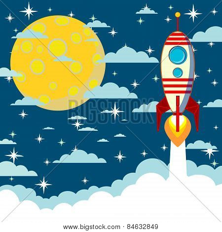 Cartoon rocket takes off, vector illustration