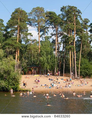 People Bathing In Moskva River At Serebryany Bor Park