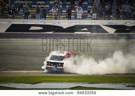 Daytona Beach, FL - Feb 20, 2015:  Ryan Reed (16) celebrates his first win, winning the Alert Today Florida 300 at Daytona International Speedway in Daytona Beach, FL.