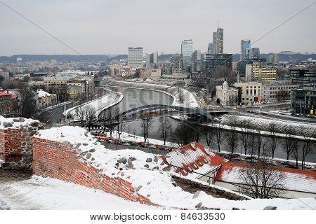 Vilnius Winter Panorama From Gediminas Castle Tower