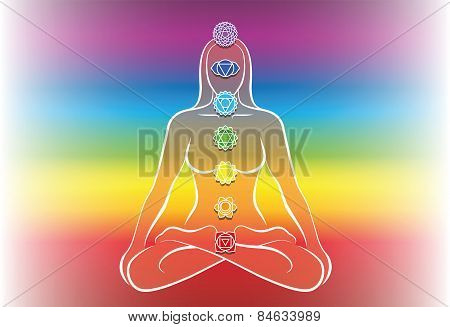 Chakras Woman Rainbow Background