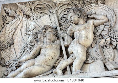 The Arc de triomphe in Paris - France