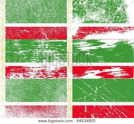 Flag Of Chechen Republic With Old Texture. Vector