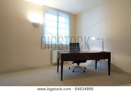 office room interior with desk