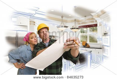 Male Contractor in Hard Hat Discussing Plans with Woman, Kitchen Drawing Photo Combination Behind.