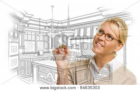 Creative Woman With Pencil Drawing Custom Kitchen Design on White.