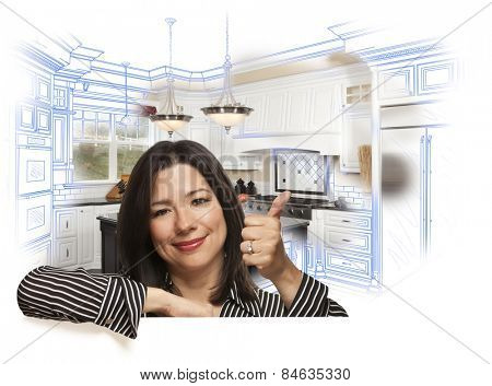 Happy Hispanic Woman with Thumbs Up and Custom Kitchen Drawing and Photo Behind on White.