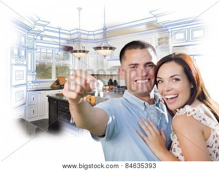 Young Happy Military Couple with New House Keys Over Kitchen Drawing and Photo Combination.