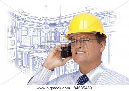 Contractor in Hardhat on Cell Phone Over Custom Kitchen Drawing on White.