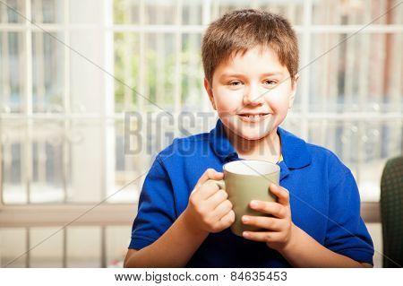 Happy Boy Drinking Coffee