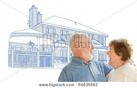Happy Senior Couple Over House Drawing on White Background.