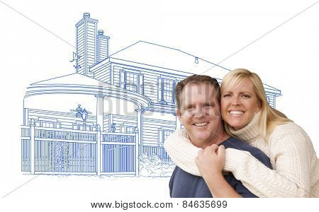 Happy Hugging Couple Over House Drawing on White.