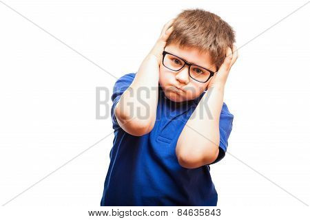 Annoyed Kid Covering His Ears