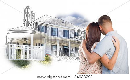 Military Couple Looking At House Drawing and Photo Combination on White.