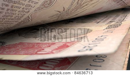 Separated Banknotes Close-up Detail