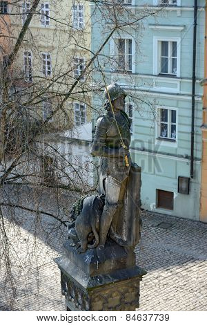 Bruncvik Statue On The Pillar Of Charles Bridge, Prague.