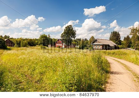 Typical Small Village In Central Russia In Sunny Summer Day