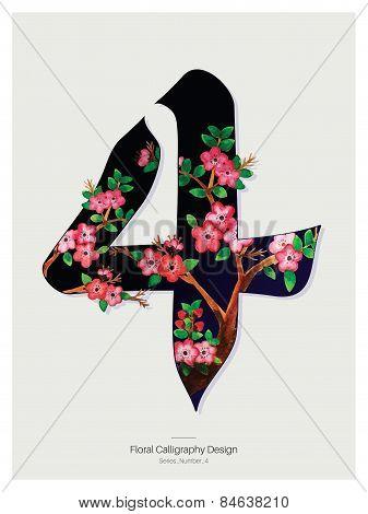 Floral Calligraphy design - Number four. Vector Illustration.