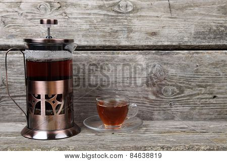 French-press And Cup Of Tea