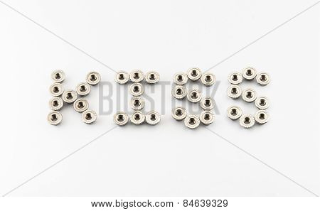 Kiss Word Created By Stainless Steel Hex Flange Nuts