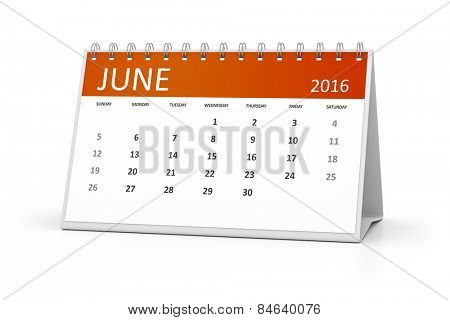 An image of a table calendar for your events 2016 June