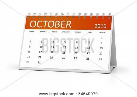An image of a table calendar for your events 2016 October