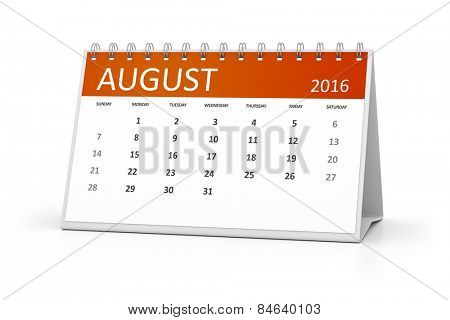 An image of a table calendar for your events 2016 August