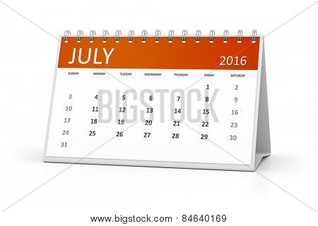 An image of a table calendar for your events 2016 July