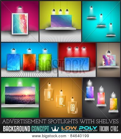 Collection of spotlights with panels with Low Poly arts for product advertisement, shop simulations, item promotions, packaging show and so on