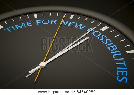 An illustration of a dark clock with the words time for new possibilities