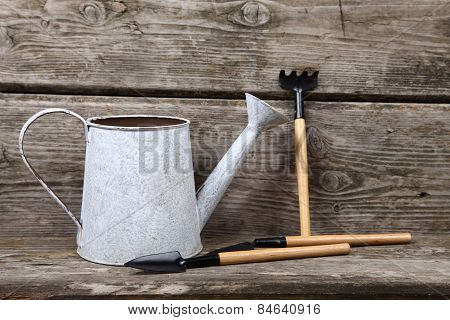 Watering Can On A Wooden Background