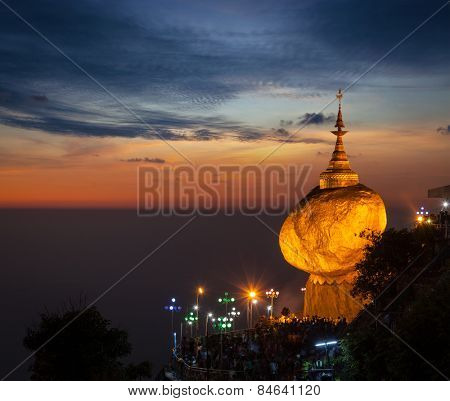 Golden Rock - Kyaiktiyo Pagoda - famous Myanmar landmark, Buddhist pilgrimage site and tourist attraction, Myanmar