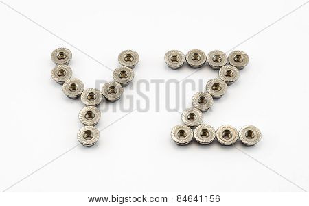 Y And Z Alphabet, Created By Stainless Steel Hex Flange Nuts