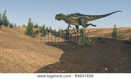 yangchuanosaurus near river on sand terrain